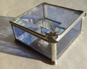 Angel on Lavender Stained Glass Jewelry Box with Beveled Lid