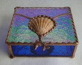 Stained Glass Shell Box with Iridescent Glass Lid and Dolphin Handle