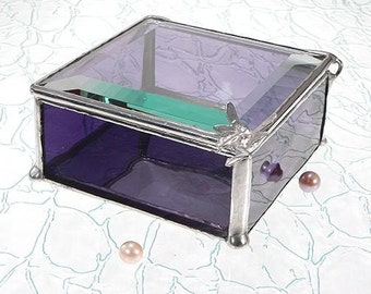 Purple Stained Glass Jewelry Box,  with Fairy Handle or choose your own Handle Style