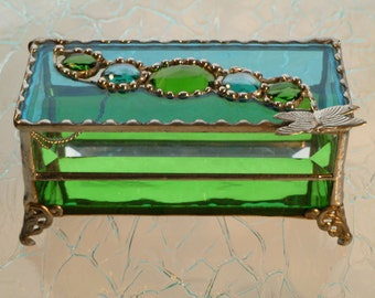 Dragonfly Dreaming, Stained Glass Boxes, Glass Jewelry Boxes, with Handle of Your Choice
