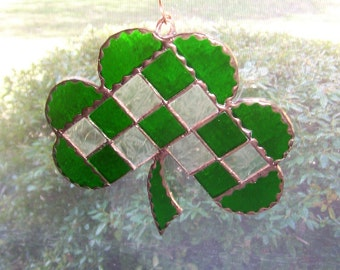 Irish Clover Stained Glass Suncatcher