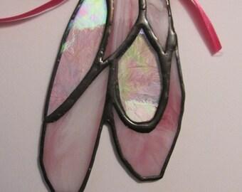Stained Glass Ballerina Slipper  Suncatcher / Ornament