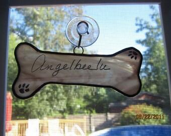 Doggy Bone Stained glass Suncatcher