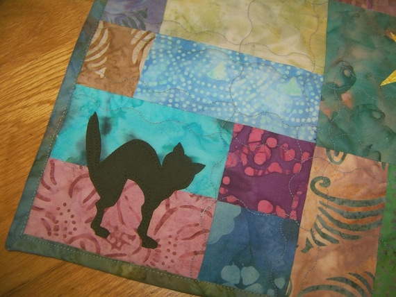 SALE - Batik Quilted Table Topper - Black Cat and Star