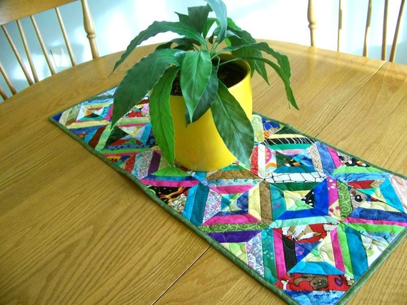 Rainbow -  Quilted Table Runner - 20% off - see shop announcement