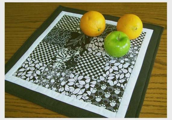 Classic Black and White -  Quilted Table Topper