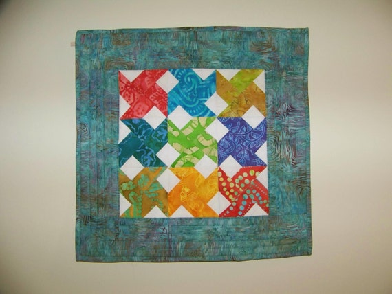 Contemporary Windmill  -  Batik Quilted Table Topper
