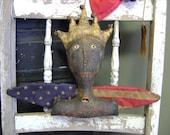 Primitive Summer Americana Liberty Lady Hanging.   WOW