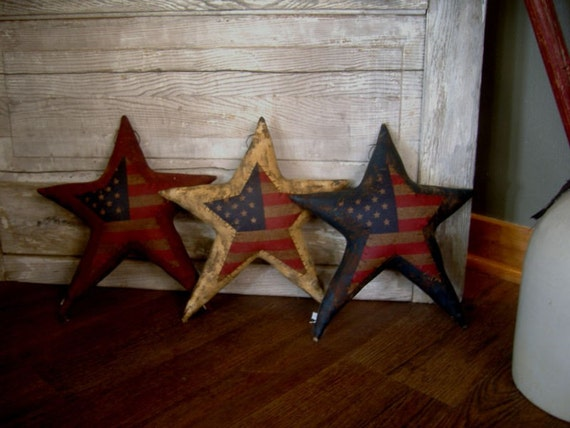 3 Large Primitive Americana Summer Flag Stars. Awesome