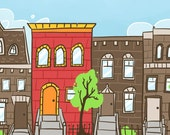 Little Red Brownstone - 5x7 Giclee Print