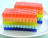 RAINBOW BRITE RUFFLE -  Kumquat Scent - Our very first design - Handmade Soap - Soap - Bright - Cheerful - Rainbows - Happy - SunbasilgardenSoap
