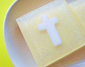 Sale soap. Faith Cross Soap.  Baptism Gift. Cross, The Lord has Risen, Thinking of you gift, Sympathy Gift, Religious Gift - final inventory
