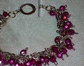 Hot Pink Cluster Bracelet - RESERVED for Mareeka