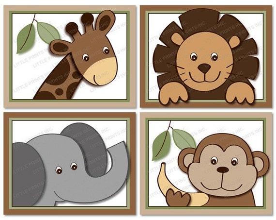 Jungle Wall Art Nursery : Baby zoo jungle animal printable nursery by