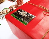 Photo Gift Tags - Holiday Red and Green Stripe