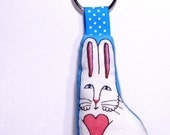 SALE... Rhonda Bunny Rabbit Softie Key Ring