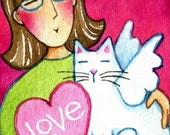 Cat Lady Valentine Art/ Original ACEO Watercolor Painting by Susan Faye