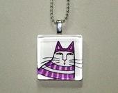 SALE... Tabby Cat Jewelry... Handmade Glass Pendant... Fanciful Purple Stripes