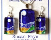 Full Moon Mountain Pendant and Earring Boxed Set... Handcrafted Jewelry