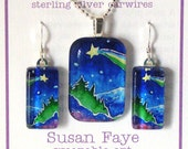Wishing Star Pendant and Earring Boxed Set... Handcrafted Glass Jewelry