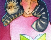 Gray Tabby Library Cat Art/ Original ACEO Miniature Watercolor Painting by Susan Faye