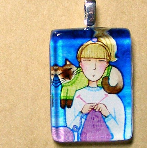 SALE...IN STITCHES No. 6 Wearable Art... Glass  Pendant for Knitters and Siamese Cat Lovers