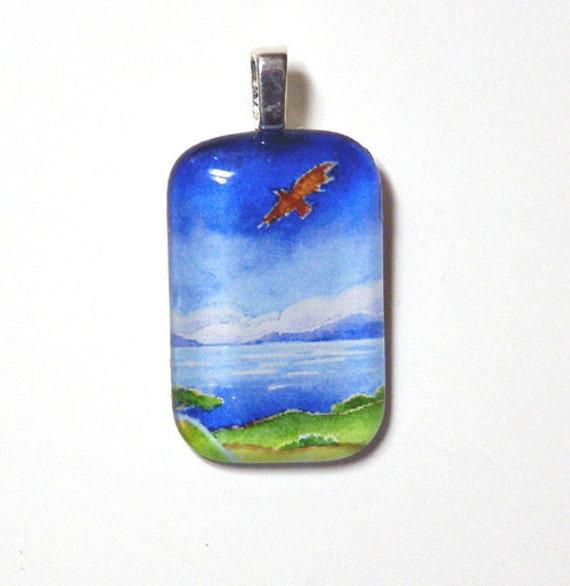 SALE... Hawk Pendant...   Soaring Bird Wearable Art Jewelry for Nature Lovers