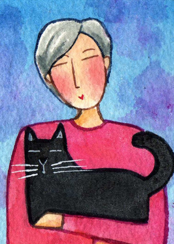 Black Kitty and Cat Lady...Original ACEO Art Miniature Watercolor Painting