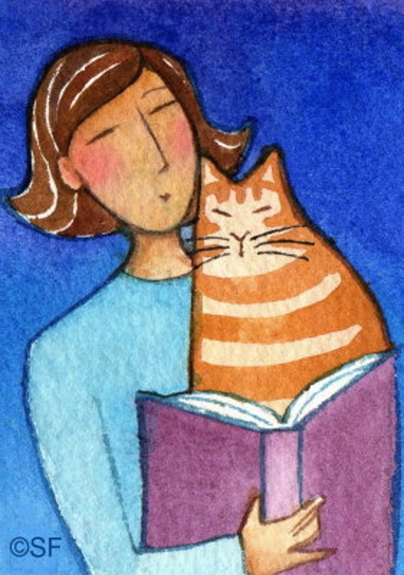 Orange Tabby Library Cat... Original ACEO Watercolor Painting