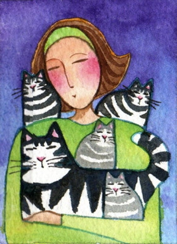 Crazy cat lady aceo art with tabby by susanfayepetprojects for Crazy mural lady