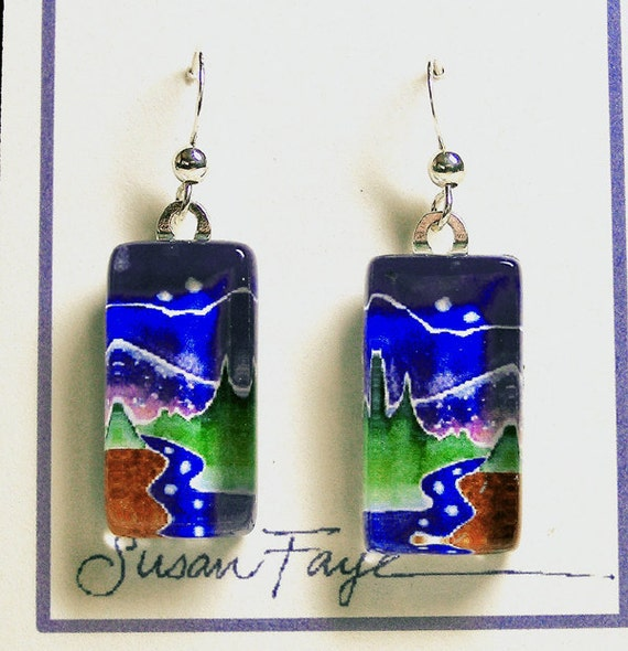 SALE... Nature Lover Earrings...Star Light Creek... Handmade Wearable Art