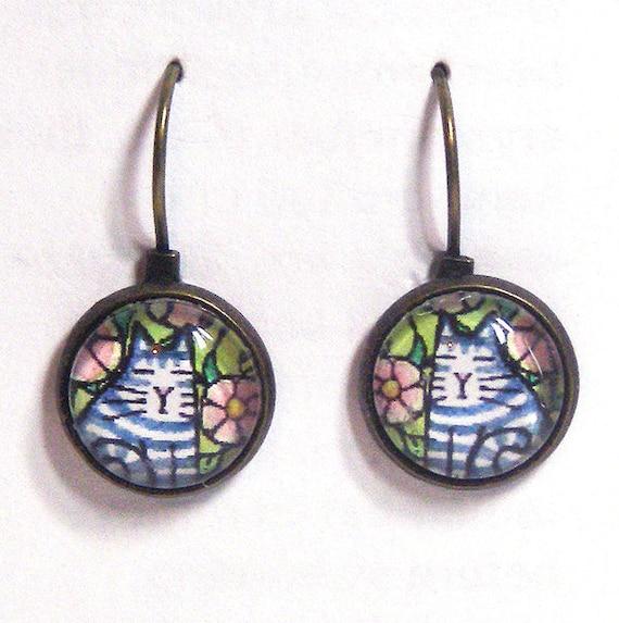 Tabby Kitten Petite Earrings.. Wearable Art in Glass and Antiqued Bronze