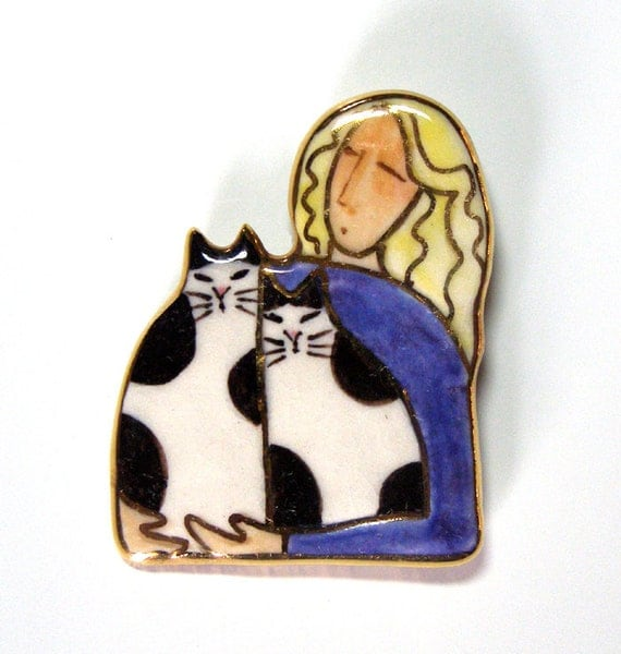 Crazy Cat Lady Porcelain Brooch/ OOAK Pin Wearable Art Jewelry