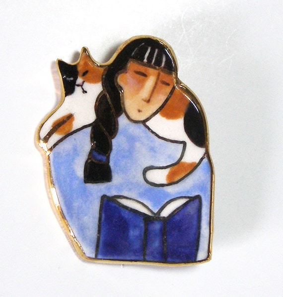 Calico Cat and Book Lover Porcelain Brooch... Wearable Art Pin with Gold Trim