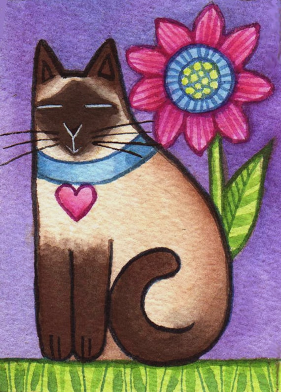 Siamese Garden Cat Original ACEO watercolor painting