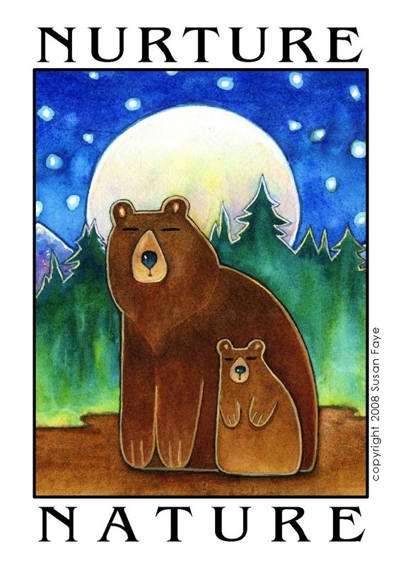 NURTURE NATURE...Mama Bear and Cub...Print matted to 11 x 14 for Nature Lovers