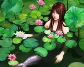 Mermaid Among Lillies - 8 x 10 Original Art Matte Print
