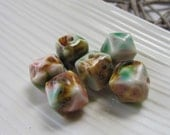 Ceramic Beads x 6 (12mm) - Blue, Pink and Brown