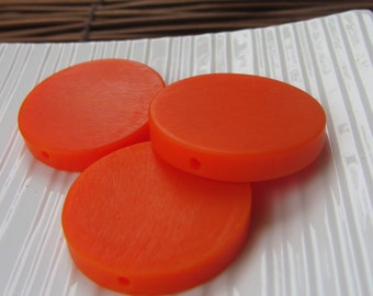 Orange Opaque - Resin Coin Beads x 3 (30mm)