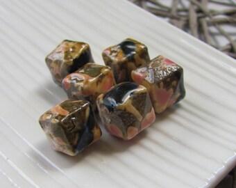 Ceramic Beads x 6 (12mm) - Dark Blue, Pink and Brown