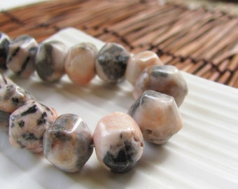 Faceted Rhodonite Stone Rondelle Beads x 8
