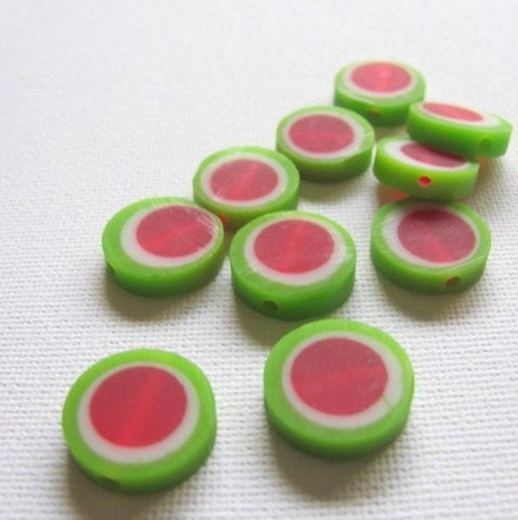 Small Resin Beads x 10 - Red Green and White