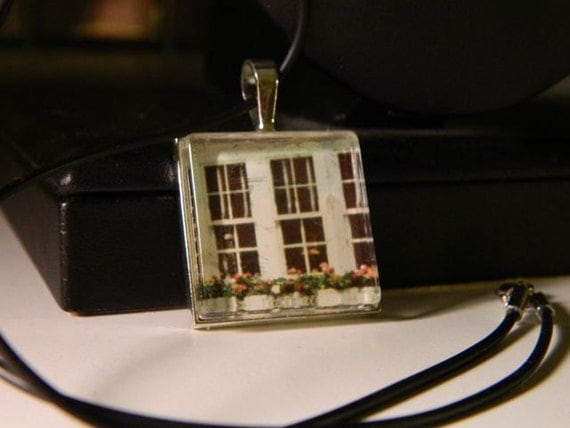Vintage Window Flower Box Scene Necklace