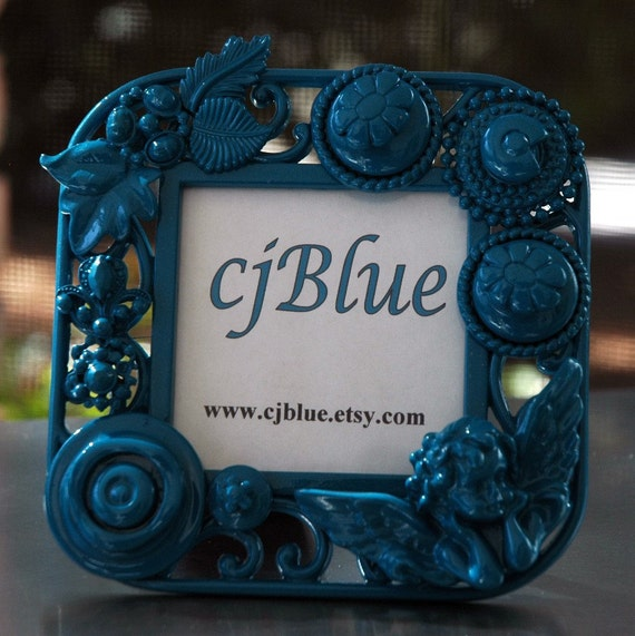 Fabulously Pretty Shabby Chic Picture Photo Art Frame in Teal by cjBlue