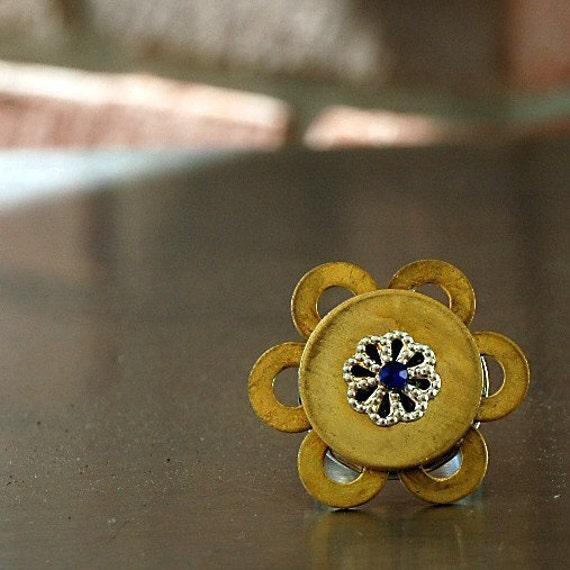 Brass Hardwear Flower Ring with Cobalt Crystal Center