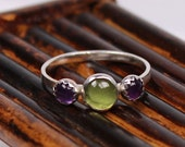 Three Stone Peridot and Amethyst Ring, Gemstone Ring, Amethyst Ring, Peridot Ring, Birthstone Ring, Handmade Ring