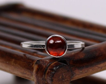 6mm Hessonite Garnet Ring, Garnet Ring, Sterling Silver Ring, Handmade Ring, Stacking Ring