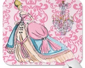 Personalized Party Favor Pink French Paris Damask Cinderella To the Ball Chandelier Mousepad