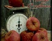 Primitive Folk Art Fall Apple Ornies Cupboard Tucks Bowl Fillers Pattern