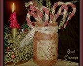 Primitive Folk Art Olde Tyme Peppermint Stix Candy Canes n Grubby Jar NO SEW E-Pattern